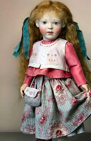 Unique, one of-a-kind versions of our past favourite dolls  Here is my second 'New Interpretations' doll. I was very fortunate to be asked to see a magnificent collection of antique needleworks a couple of months ago, I really love stumpwork and other early embroideries and needleworks, samplers included. These were the inspiration for Esme 'sampler' I hope you like her.  This 'New Interpretation' has now sold  I enjoy so much working on the 'New Interpretations' dolls that I am going to, from time to time