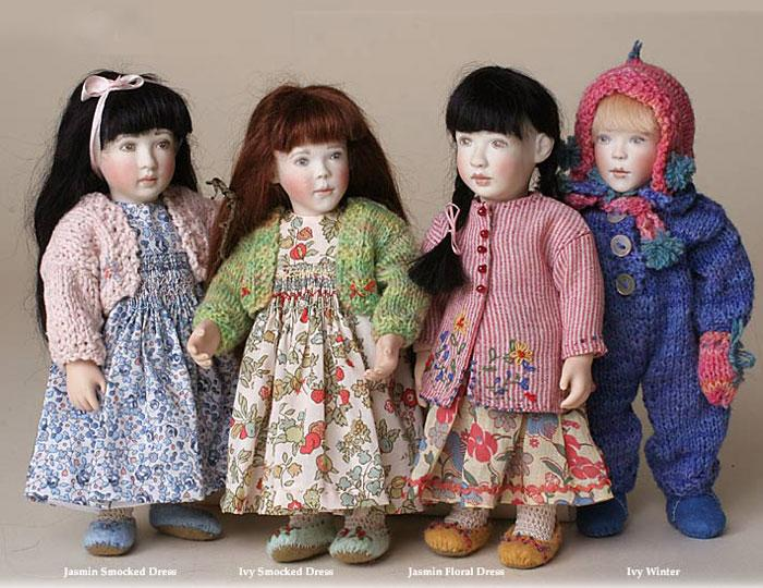 Little friends(L-R) Jasmin in liberty smocked dress, Ivy in liberty smocked dress, Jasmin in Indian inspired outfit and Ivy in Winter outfit