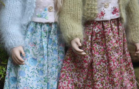 Detail of the beautiful embroidery on the blouses and the wonderful cotton print skirts