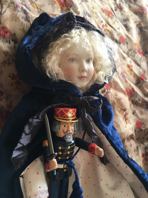 "Pippa as Clara from The Nutcracker. She is 12"" tall with a cloth body. She comes with a wonderful Nutcracker doll by Eric Horne. This special edition is now sold out."