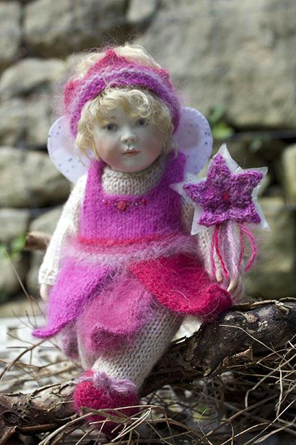 Christmas Baby Bonnie in her lovely angora fairy dress in gorgeous shades of pink. She is available from The Toy Shoppe in the US and directly from us here in Europe and the UK. Christmas Baby Bonnie is an edition of just 15pieces worldwide and is £495 or $970.