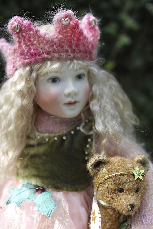 "Introducing our new cloth bodied doll for 2014, Pippa, 12"" a big sister to Bessie. Here she is wearing her lovely Christmas Winter Fairy outfit. Lots of beautiful beaded silk velvet, silks and organzas with soft mohair knits. She also has a delightful mohair bear by Stella Topping. Pippa Winter Fairy has now sold out."